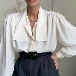 Vintage Necktie Secretary Blouse Button Up